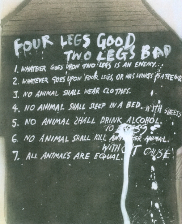 seven commandments changed in animal farm Commandments of animal farm  page #43 the seven commandments were listed 1 whatever goes upon two legs is an enemy  seven commandments changed for first time.